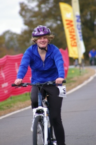 SONJ athlete Katie McGee, seen here cycling in the Fall Sports Festival is also training for Tour de Jersey.