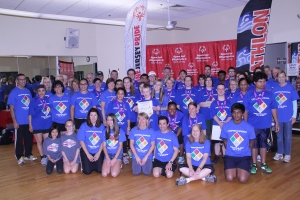 All of the Triathletes and Volunteers together that made the event a success.